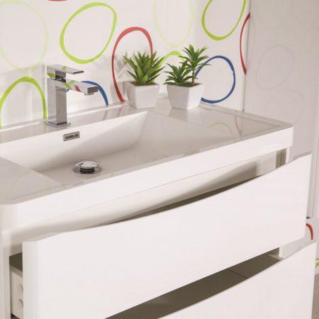 Mobile bagno sospeso moderno 90 cm con lavabo, colonna e specchio