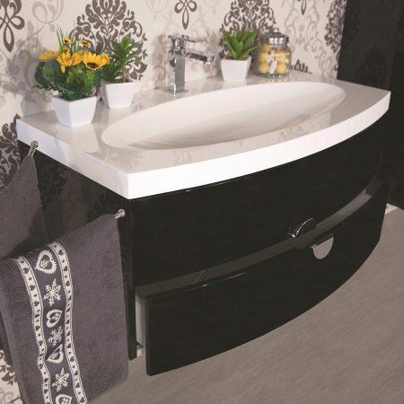 Mobile bagno sospeso moderno 92 cm con lavabo colonna e - Mobile per lavabo a colonna ...