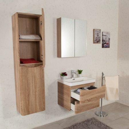 Mobile bagno sospeso moderno 60 cm con lavabo colonna e for Colonna mobile bagno