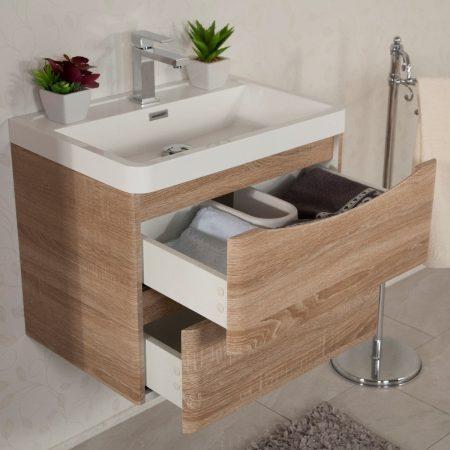 Mobile bagno sospeso moderno 60 cm con lavabo e specchio. Ortensia rovere