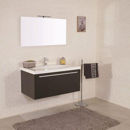 Mobile bagno sospeso moderno 90 cm con lavabo. Edera wenghe