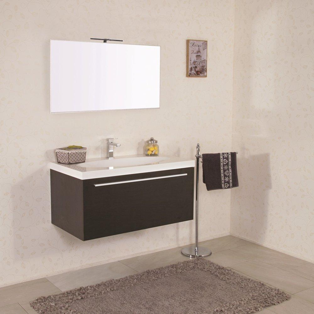 Mobile bagno sospeso moderno 92 cm con lavabo e specchio for Lavabo bagno moderno