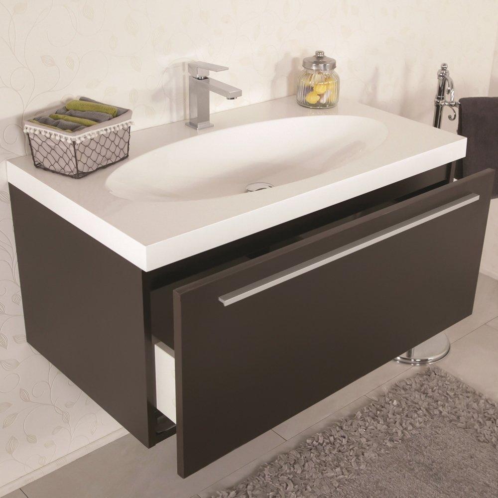 Mobile bagno sospeso moderno 92 cm con lavabo e specchio - Mobile bagno moderno sospeso ...