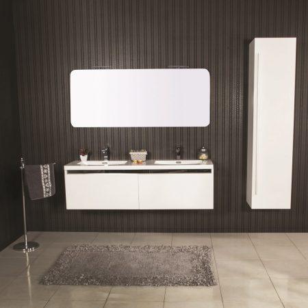 Lavabi Moderni Per Bagno.Mobile Bagno Sospeso Moderno 150 Cm Con Lavabo Colonna E Specchio