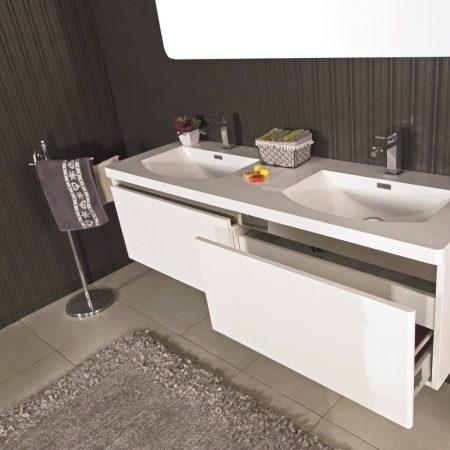 Mobile Con Lavello Bagno.Mobile Bagno Sospeso Moderno 150 Cm Con Lavabo E Specchio Azalea Bianco