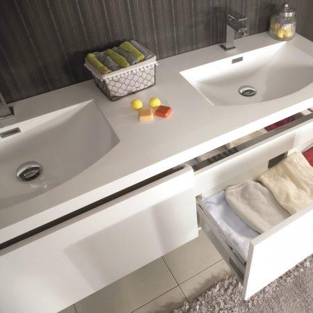 Mobili Bagno Per Lavandino Con Colonna.Mobile Bagno Sospeso Moderno 150 Cm Con Lavabo Colonna E Specchio