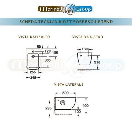 SCHEDA TECNICA LEGEND BIDET SOSPESO 800