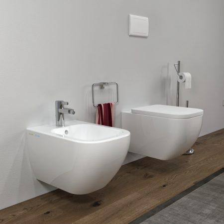 Bidet e Vaso WC sospesi Legend in ceramica completo di sedile softclose