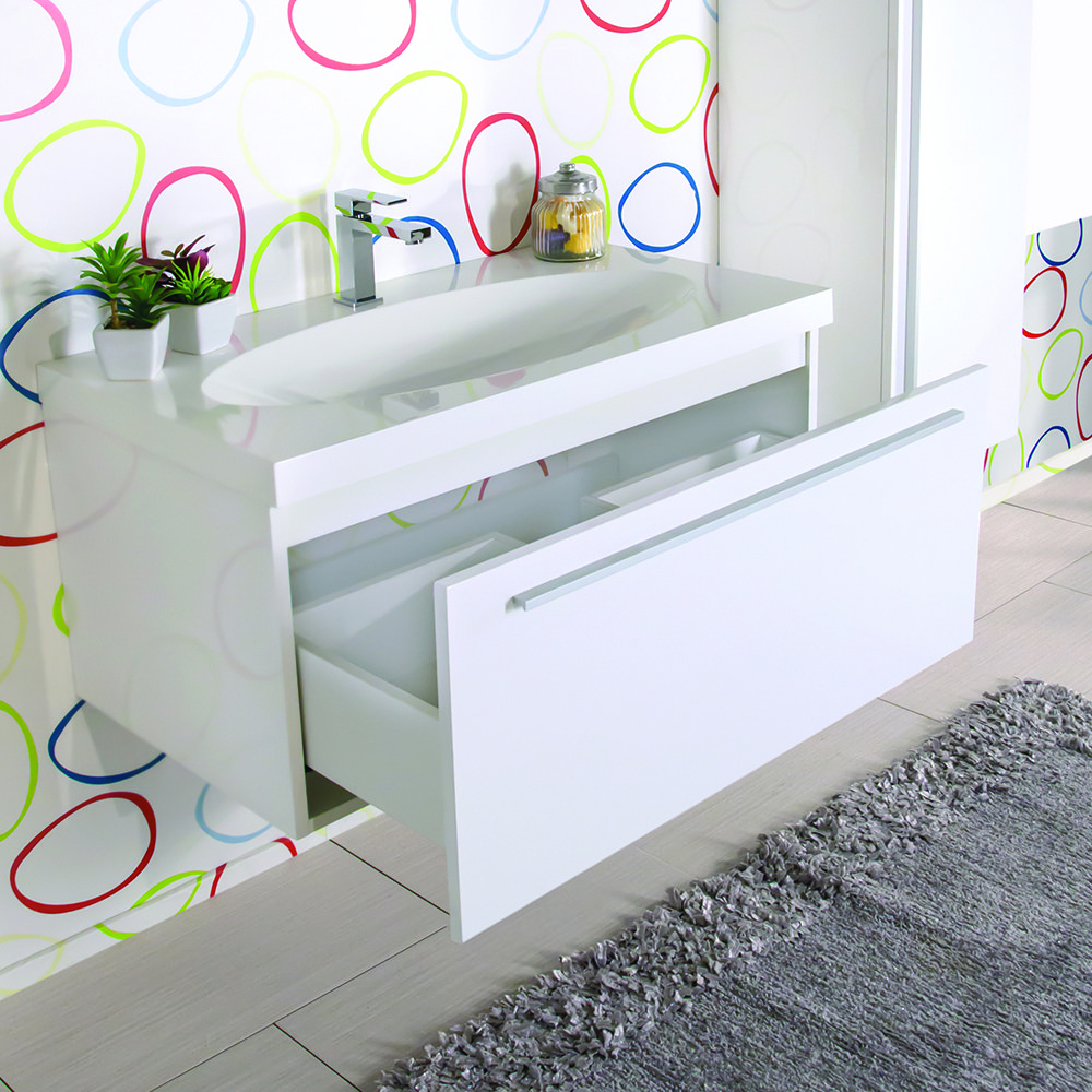 Mobile bagno moderno 90 cm con lavabo colonna e specchio for Prezzi lavabo bagno con mobile