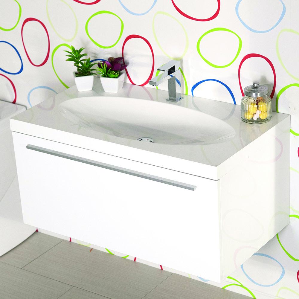 Mobile bagno sospeso moderno 92 cm con lavabo edera bianco - Lavabo sospeso con mobile ...