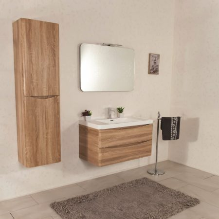 Mobile bagno sospeso moderno 90 cm con lavabo e specchio