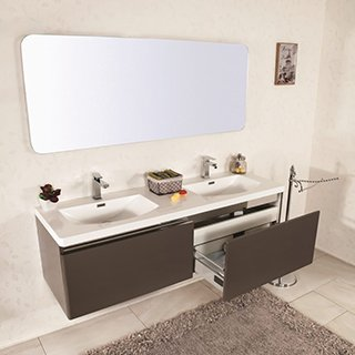 Mobile bagno sospeso moderno 150 cm con lavabo colonna e specchio - Mobiletti ad angolo moderni ...