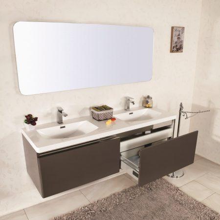 Mobile bagno sospeso moderno 150 cm con lavabo, colonna e specchio