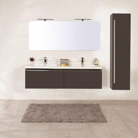 Mobile bagno sospeso moderno 150 cm con lavabo e specchio. Azalea