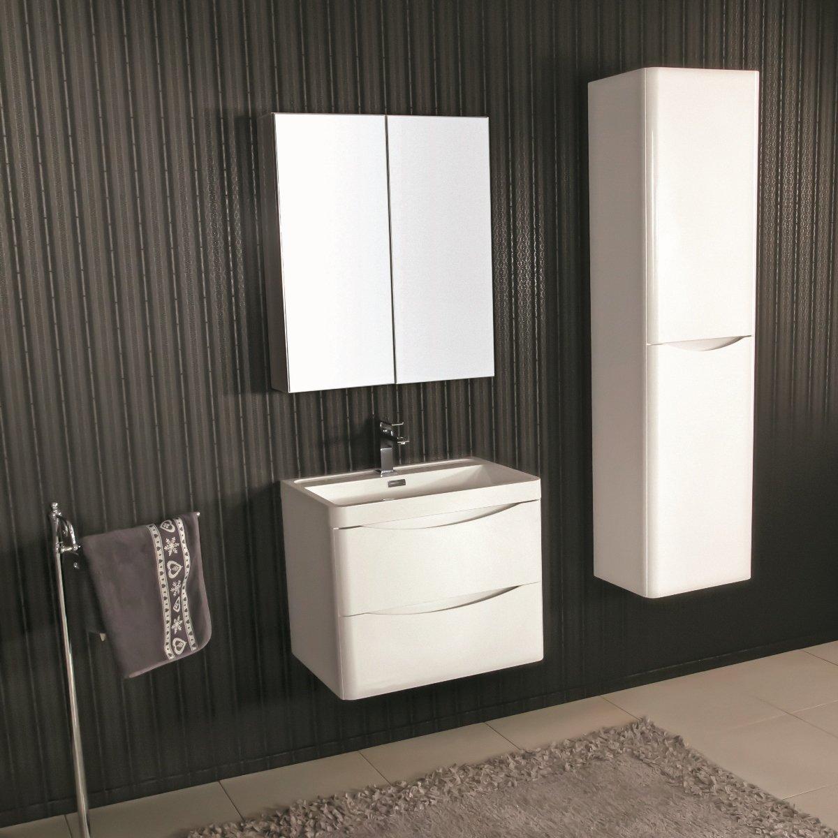 Armadietto Bagno Moderno mobile bagno sospeso moderno 60 cm con lavabo e specchio. ortensia bianco
