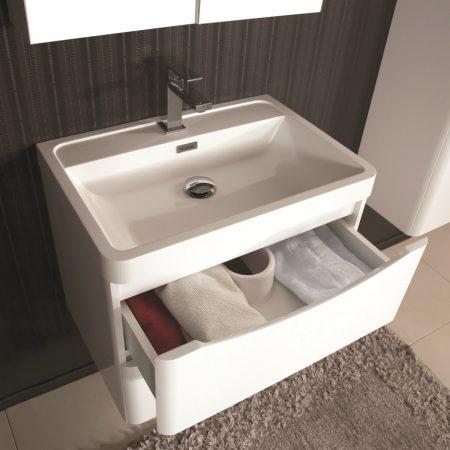 Mobile bagno sospeso moderno 60 cm con lavabo, colonna e specchio