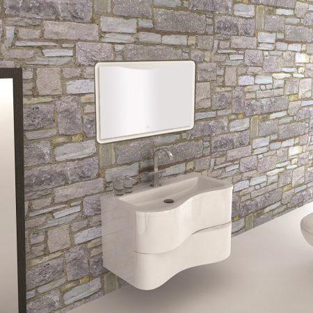 Mobile bagno sospeso moderno 90 cm con lavabo e specchio. Primula