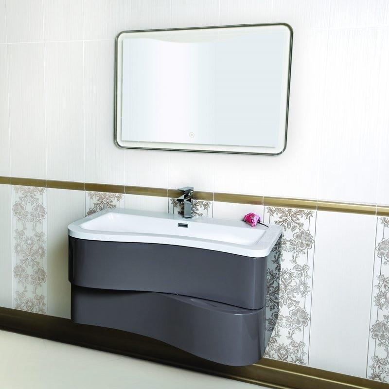 Mobile bagno sospeso moderno 90 cm con lavabo e specchio. Primula Grigio