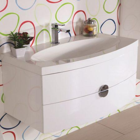 Mobile bagno sospeso moderno 92 cm con lavabo, colonna e specchio