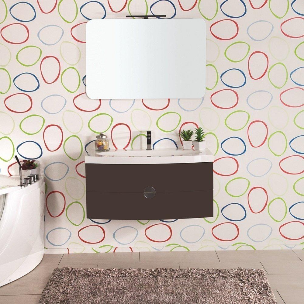 Mobile bagno tulipano magnolia 92 cm con lavabo e specchio for Offerte mobile bagno con lavabo