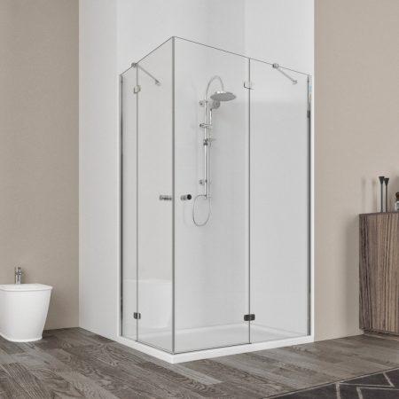Box doccia angolare con un anta battente vetro cristallo temperato 6mm trasparente Ninfea 2019-1
