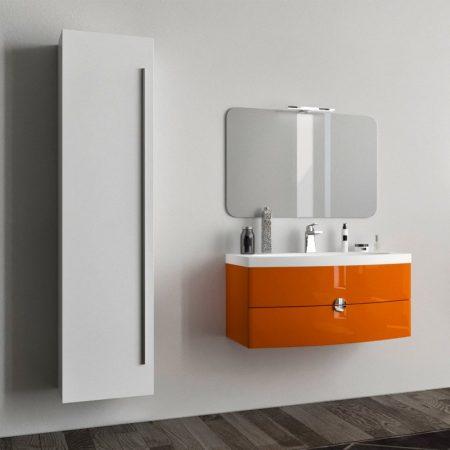 Mobile bagno sospeso moderno arancio da 90 con lavabo e specchio