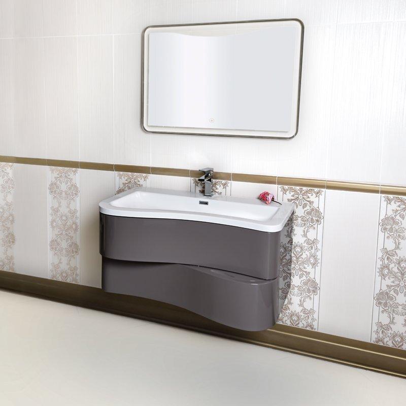 Mobile bagno sospeso moderno 90 cm con lavabo colonna e for Lavabo con mobile sospeso