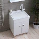 Lavatoio in legno bianco da interno 50×50 2 ante con asse lavapanni lavanderia
