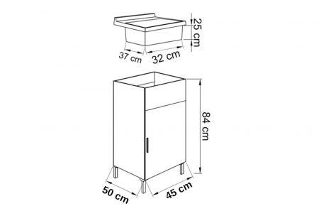 Lavatoio in legno da interno 45×50 1 anta con asse lavapanni lavanderia (6)