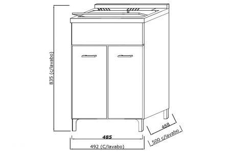Lavatoio in legno da interno 50×50 2 ante con asse lavapanni lavanderia 5
