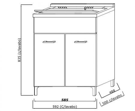 Lavatoio in legno da interno 60×50 2 ante con asse lavapanni lavanderia