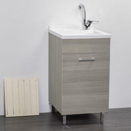 Lavatoio in legno rovere GRIGIO da interno 45×50 1 anta con asse lavapanni lavanderia 1