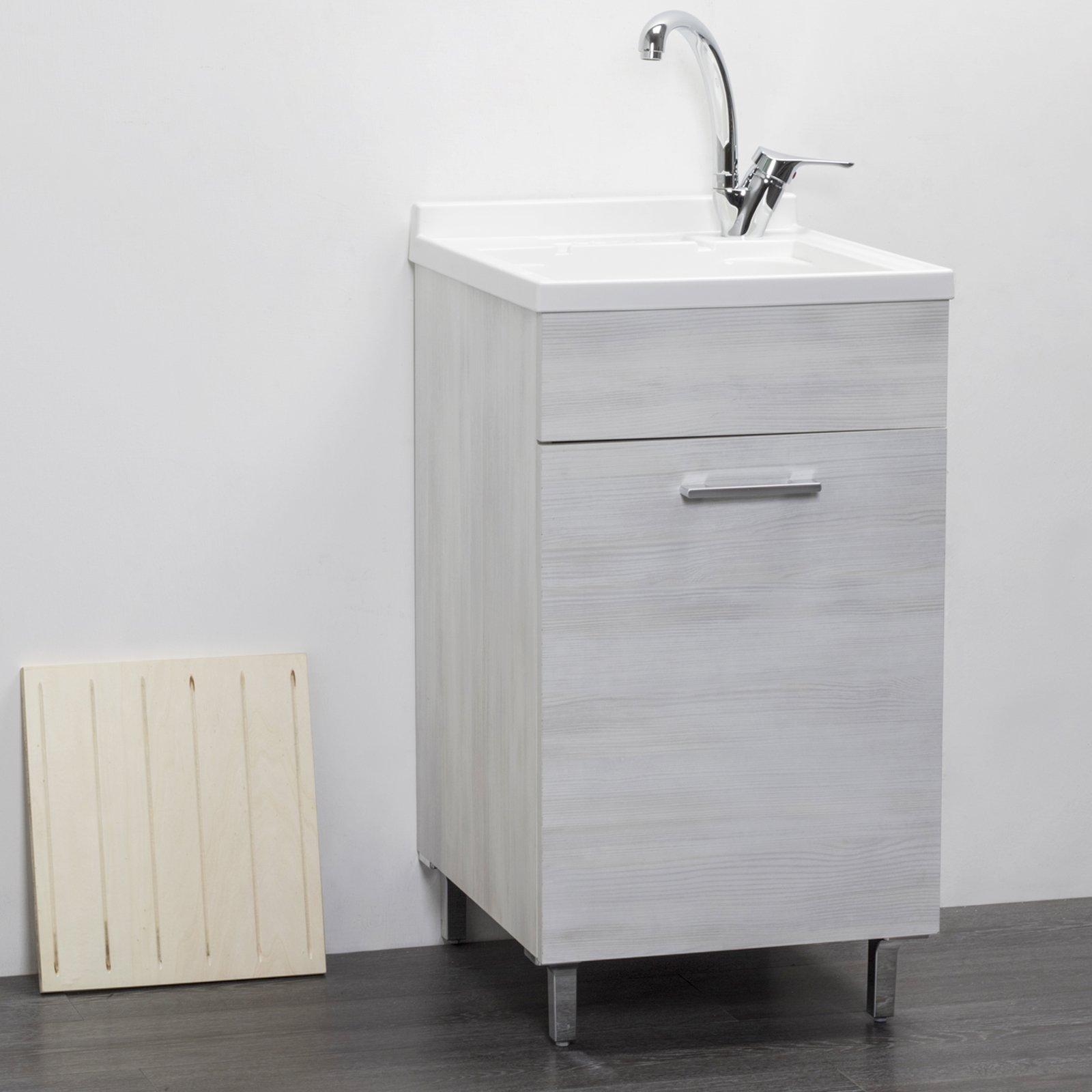 Lavatoio in legno rovere bianco interno 45x50 1 anta con for Mobili 1 anta