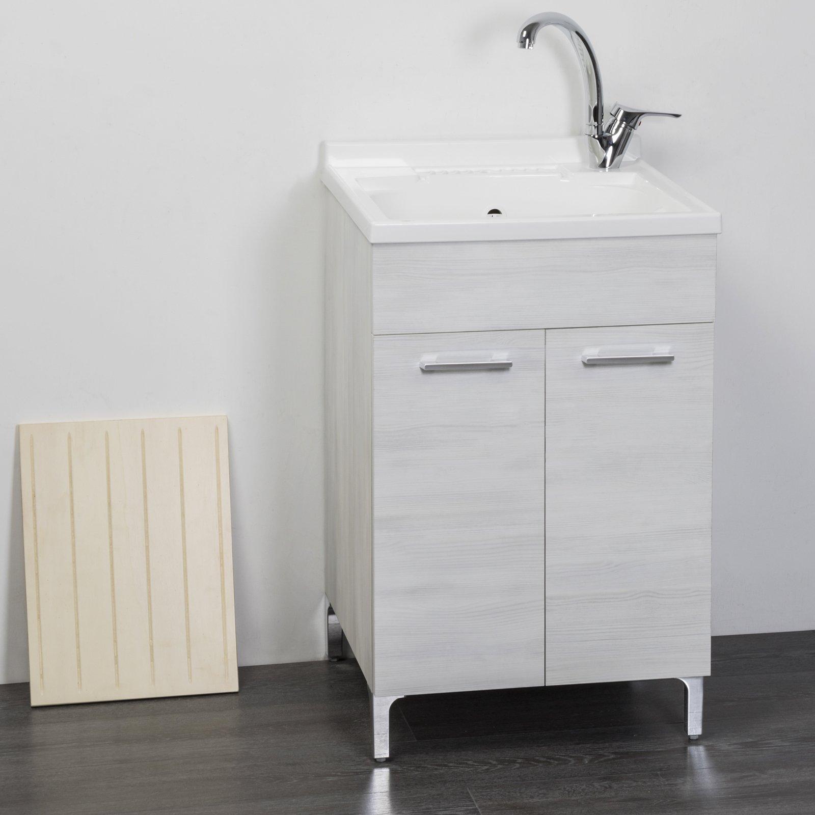 Lavatoio in legno rovere bianco interno 50x50 2 ante con for Coprilavatrice in legno