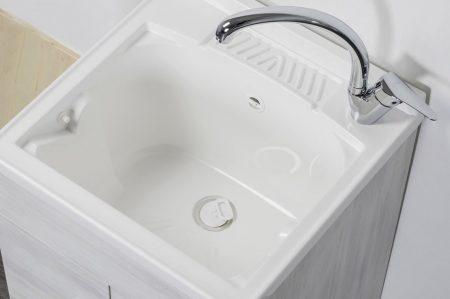 Lavatoio in legno rovere bianco da interno 50×50 2 ante con asse lavapanni lavanderia 3