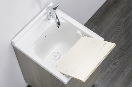 Lavatoio in legno rovere grigio da interno 45×50 1 anta con asse lavapanni lavanderia 3