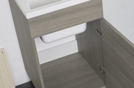Lavatoio in legno rovere grigio da interno 45×50 1 anta con asse lavapanni lavanderia 4