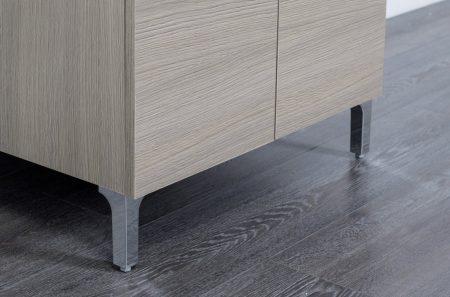 Lavatoio in legno rovere grigio da interno 50×50 2 ante con asse lavapanni lavanderia 2