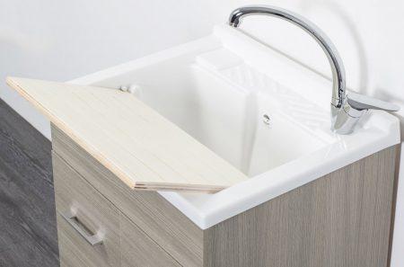 Lavatoio in legno rovere grigio da interno 50×50 2 ante con asse lavapanni lavanderia 3