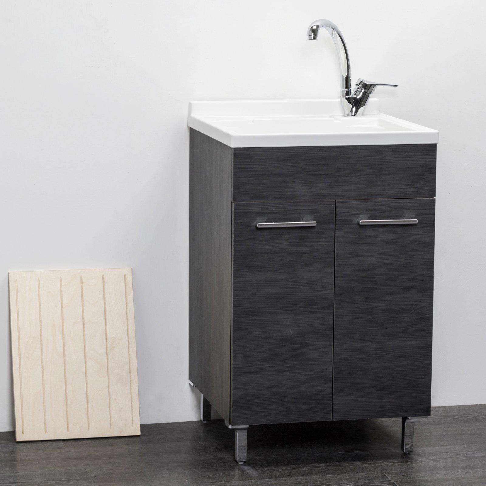 Lavatoio in legno rovere scuro da interno 50x50 2 ante con for Coprilavatrice in legno