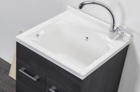 Lavatoio in legno rovere scuro da interno 50×50 2 ante con asse lavapanni lavanderia 2