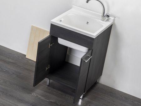Lavatoio in legno rovere scuro da interno 50×50 2 ante con asse lavapanni lavanderia 3