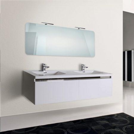 Mobile bagno sospeso moderno 150 cm con lavabo e specchio. Azalea bianco