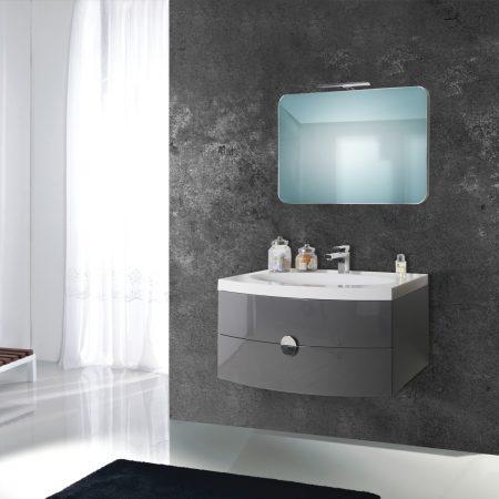 Mobile bagno sospeso moderno 92 cm con lavabo specchio