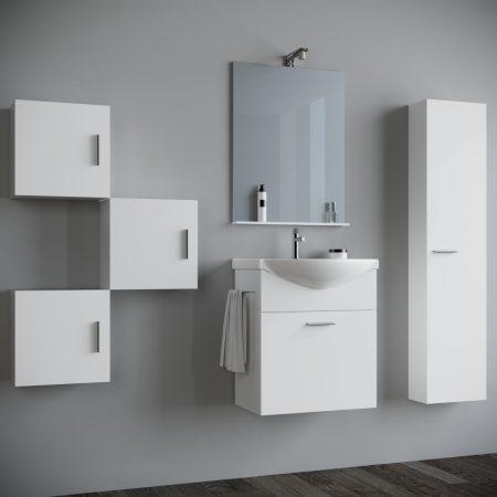 Mobile bagno sospeso moderno Bianco laccato 60 cm con pensile colonna  specchio e luce Papavero