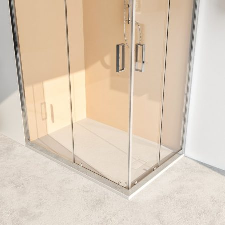 Box doccia angolare con due ante scorrevoli vetro cristallo temperato 6mm trasparente Acacia 2019-3a