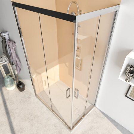 Box doccia angolare con due ante scorrevoli vetro cristallo temperato 6mm trasparente Acacia 2019-4
