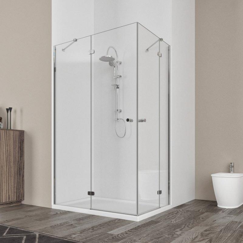 Box doccia angolare 80X120 con due ante a battenti vetro cristallo 6mm – Ninfea