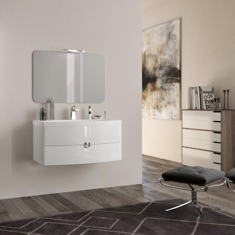 Mobile bagno sospeso moderno 90 cm con lavabo e specchio. Tulipano Bianco