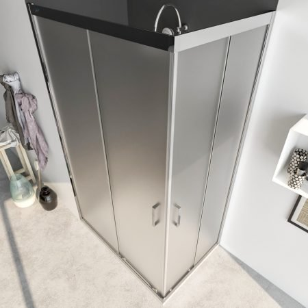 Box doccia angolare con due ante scorrevoli vetro cristallo temperato 6mm satinato Acacia 2019-1